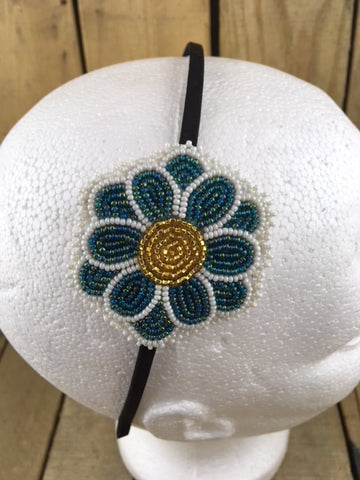 Headband with Green/White and Gold Beaded 12 Petal Beaded Flower on White Hide Backing