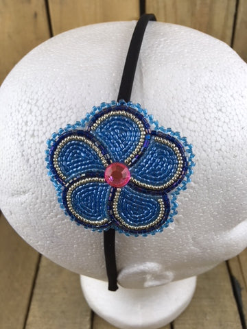 Headband with 2 Tone Blue Beaded 5 Petal Flower on White Hide Backing