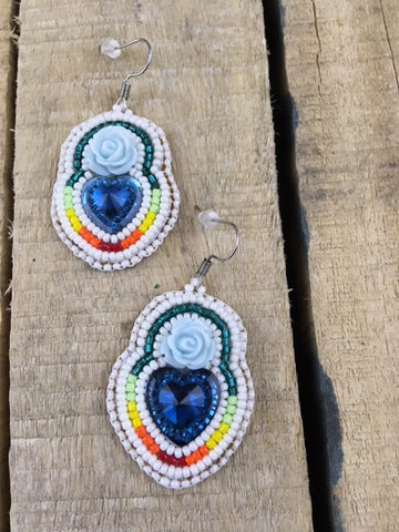 Beaded Heart Shaped Earrings with Blue Rose and Centre Piece on Stroud Backing