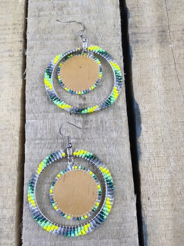 Beaded Green/Grey and Yellow Earrings with Birch Bark Centers