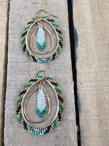 Beaded Green/Black and Gold Earrings with Beaded Feather Centre