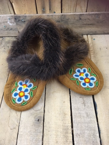 Moosehide Moccasins with Beaver Fur Cuff and 1 1/2 Two Tone Blue Flower with Yellow and Orange Centers