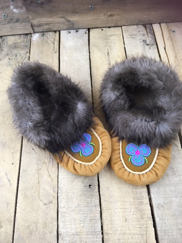 Caribou Hide Moccasins with Beaver Fur Cuff and Blue and Pink 3 Petal Flower