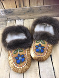 Moosehide Moccasins (Pinto Style) with Beaver Fur Cuff and 1 Blue and Grey Flower