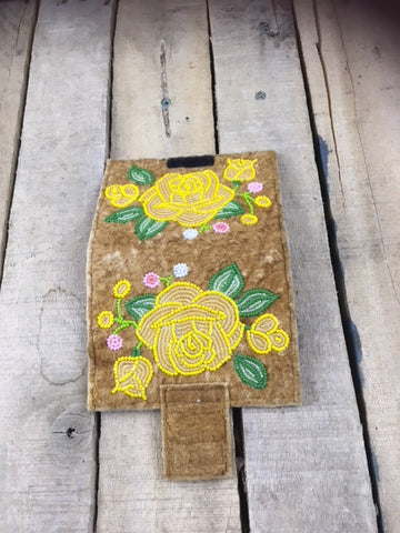 Handcrafted Moosehide Wallet with Yellow Rose and buds