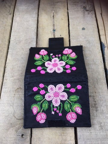 Handcrafted Black Leather Wallet with Hot Pink Beaded Flowers and buds