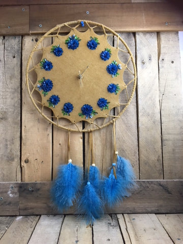 Blue Fish scale Clock on Commercial Hide with Blue Feathers