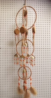 3 Tiered Moosehide Dreamcatcher with Mini Drums and Headdresses