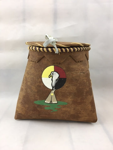 Mini Birch Bark Basket - Painted Teepee - Eagle - Medicine Wheel