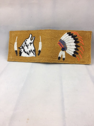 Moose Hide Handcrafted B-fold Wallet - beaded Headdress, Wolf and Feathers