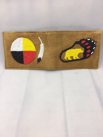 Moose Hide Handcrafted Bi-Fold Wallet - Beaded Medicine Wheel, Feather, Bear Paw and Bear