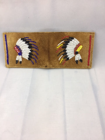 Moose Hide Hand Crafted  Bi-Fold Wallet - Two Beaded Headdresses