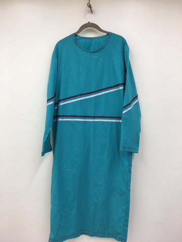 Hand Crafted Traditional Teal Under Dress with Wine and Light Blue Ribbon design