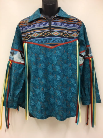 Hand Crafted Ribbon Shirt with Eagle Feather
