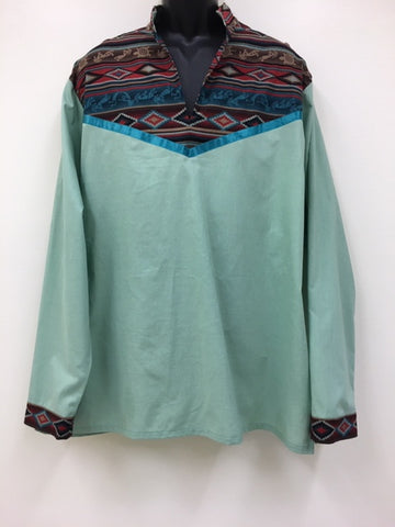 Hand Crafted XL Green Ribbon Shirt with Navajo Print