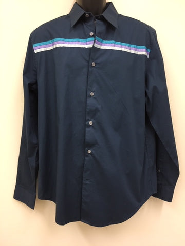 Large Navy Men's Ribbon Shirt - Blue-Purple and Light Green Ribbon
