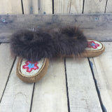Fully Beaded Red/pink Flowers on Hand Tanned Hide Slippers with Beaver Fur