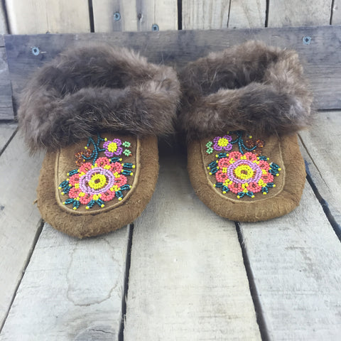 Beaded Orange/Yellow/Pink Flowers on Hand Tanned Hide Slippers with Beaver Fur