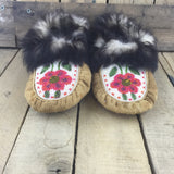 Fully Beaded with Pink/Purple Flowers on Hand Tanned Hide Slippers with Weasel Fur