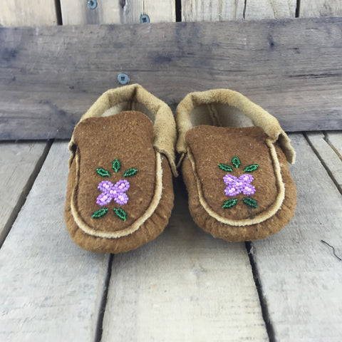 Pink Beaded Flower on Moose Hide Slippers