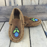 Blue Beaded Flower on Moose Hide Slippers
