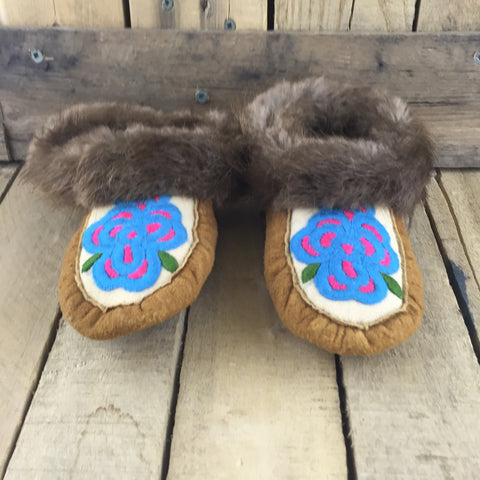 Blue Flowers Embroidered on Hand Tanned Moose Hide Slippers