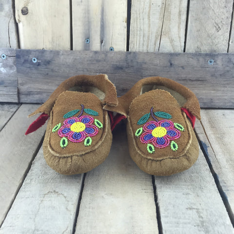 Beaded Pink/Blue Flowers on Moose Hide Slippers
