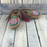 Beaded Red/Pink Flowers on Hand Tanned Hide Slippers