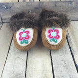 Beaded Pink/Red Flowers on Hand Tanned Hide Slippers with Beaver Fur