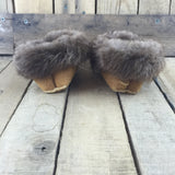 Embroidered Blue Flowers on Hand Tanned Hide Slippers with Beaver Fur