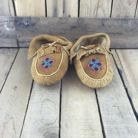 Beaded Pink/Red/Green Design on Hand Tanned Hide Slippers with Fringe