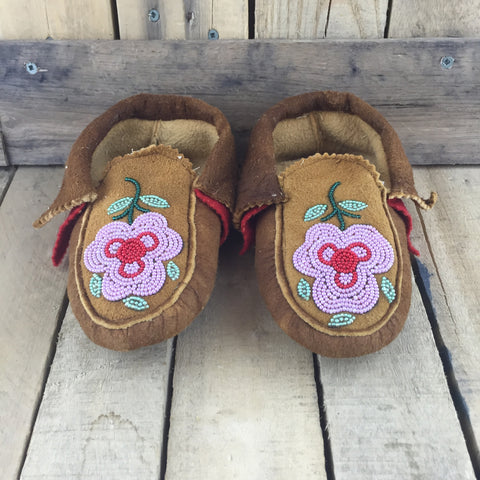 Beaded Pink/Red Flowers on Hand Tanned Hide Slippers