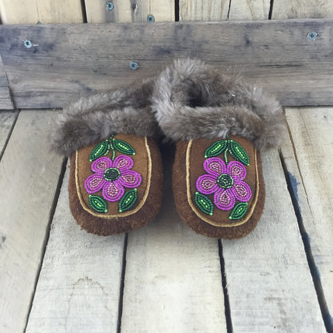 Beaded Pink Flowers on Hand Tanned Hide Slippers with Beaver Fur