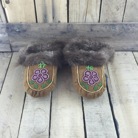 Beaded Pink/Purple Flowers on Hand Tanned Hide Slippers with Beaver Fur