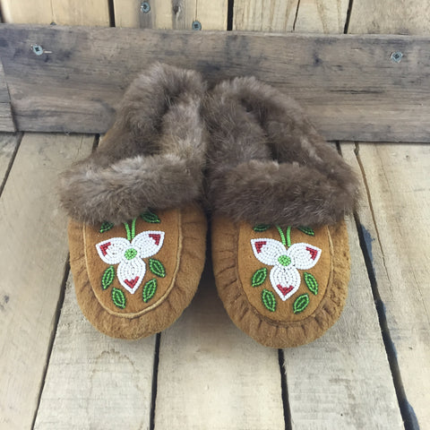 Beaded White Flowers on Hand Tanned Hide Slippers with Beaver Fur