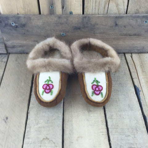 Beaded Pink/Red Flowers on Hand Tanned Hide Slippers with Mink Fur