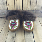 Red Flowers Beaded on Stroud on Hand Tanned Moose Hide Slippers with Beaver Fur