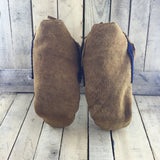 Mens Moosehide Wrap Arounds With Blue Stroud