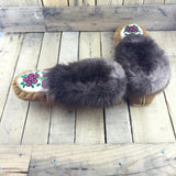 Beaded Red Flowers on Hand Tanned Hide Slippers with Beaver Fur