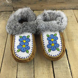 Fully Beaded Blue Flowers on Hand Tanned Slippers with Rabbit Fur