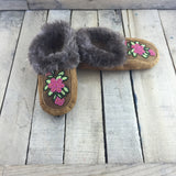 Beaded Coral Flowers on Hand Tanned Moose Hide Slipper with Beaver Trim