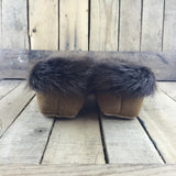 Beaded Pink Flower on Hand Tanned Moose Hide Slippers with Beaver Fur