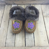 Beaded Purple Flowers on Hand Tanned Moose Hide with Beaver Fur