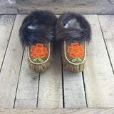 Beaded Orange Flowers on Hand Tanned Moose Hide Slippers with Beaver Fur