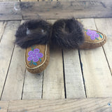 Beaded Purple/Pink Flower on Hand Tanned Moose Hide Slippers With Beaver Fur Fleece Lined
