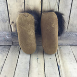 Beaded Hot Pink Flowers on Hand Tanned Moose Hide Slippers with Beaver Fur