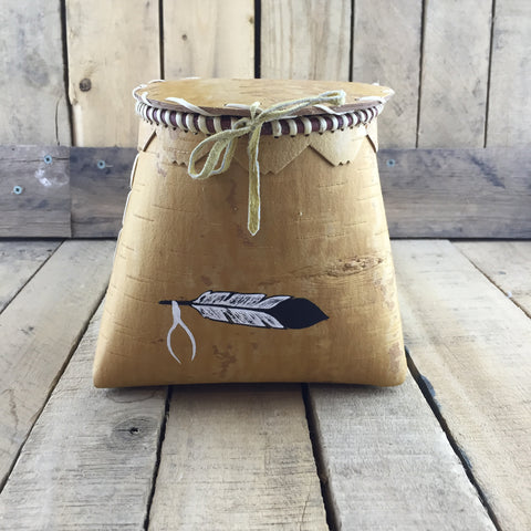 Birch Bark Basket with Feather