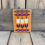Fully Orange Beaded Moose Hide Card Holder