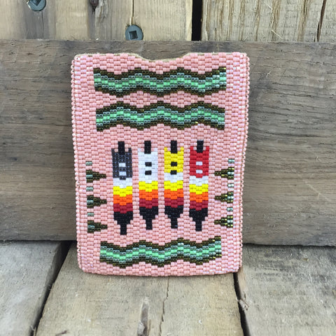 Fully Salmon Beaded Moose Hide Card Holder