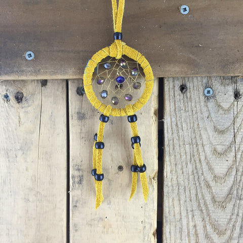 Small Mustard & Royal/ Grey/ Black Beaded moose Hide Dream Catcher